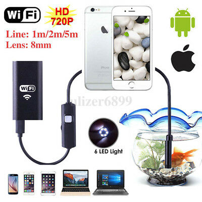 HD Waterproof WiFi Endoscope Inspection Borescope Camera for iPhone Android PC