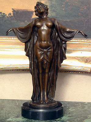 Classic Vintage Nude Woman Female Dancer Bronze Marble Statue Sculpture Figurine