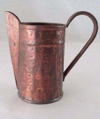 Gothic Antique Handmade Hand Hammered Heavy Solid Copper Small Pitcher Creamer