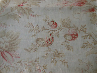 Antique French Softened Indienne Floral Cotton Fabric #3~ Pink Red Soft Olive