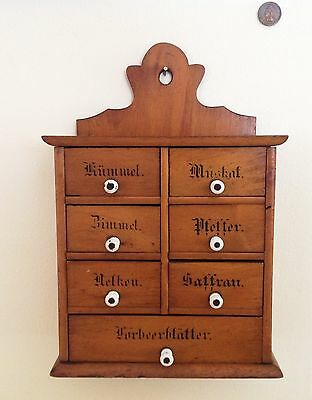 Antique Spice Cabinet All Original~ China Knobs 1900's