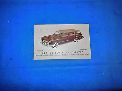 1954 Desoto Firedome Station Wagon Original Unused Dealer Post Card! Must See!!!