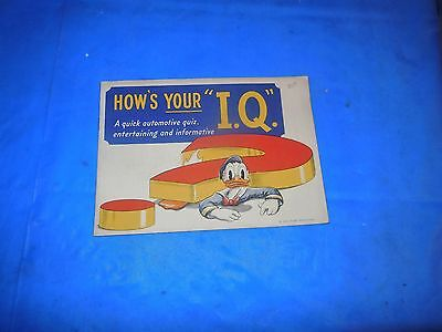 """1940's SUNOCO OIL CO. WALT DISNEY PRODUCTIONS DONALD DUCK """"HOW's YOUR I.Q.""""!!!"""