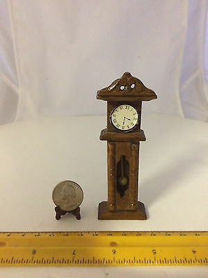 1/12 Scale Vintage Grandfather Clock Nice Finished Wood Door Opens