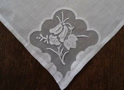 Set of 5 Vintage Linen Dinner Napkins Organdy Embroidered Madeira Floral White