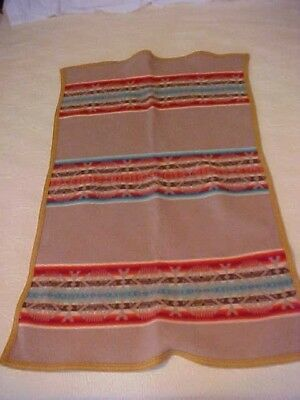VINTAGE WOOL PENDLETON BLANKET, BROWN with RED AND BLUE DESIGN