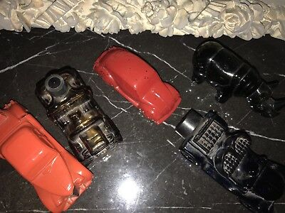 Lot Of 5 Collectible Avon Glass Cars Vintage Decanter Car Shaped Bottles