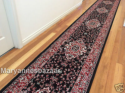 Hallway Runner Hall Runner Rug Traditional Black 4 Metres Long FREE DELIVERY