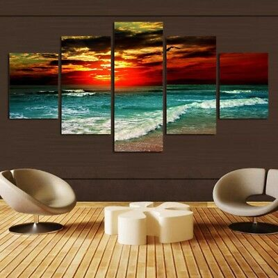 5pcs HD Canvas Print Home Decor Wall Art Painting Beautiful Picture UNFramed