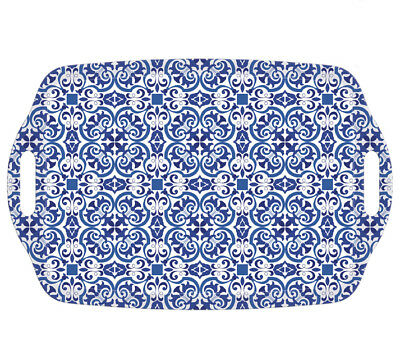 iStyle Moroccan Tiles Melamine Handled Serving Tray Oriental Blue Pattern Handy