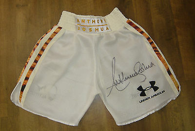 Anthony Joshua SIGNED AUTOGRAPH Mesh & Tiger Fur Under Armour Trunks AFTAL UACC