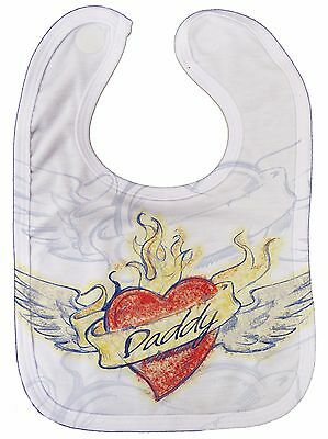 "Dirty Fingers ""Daddy Heart Tattoo"" Baby Feeding Bib All Over Print Love Dad Gift"