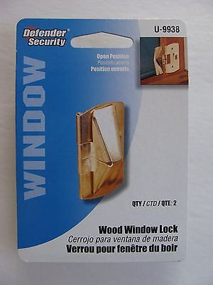 NEW Defender Security Wood Window Lock Flip Lock (2) ~ Brass Plated Steel