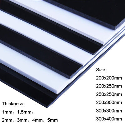 White/Black ABS Plastic Sheet Panel DIY Model Craft 0.5mm~5mm Thick Choose Sizes