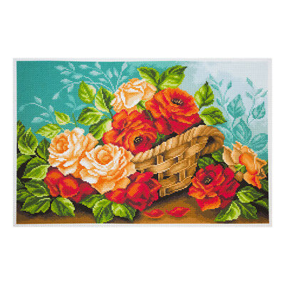 COLLECTION D'ART |Printed Aida: Roses in Basket |PA1241