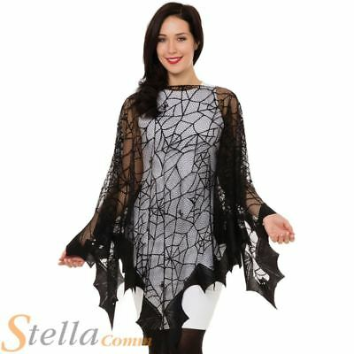 Ladies Spider Web & Bat Fishnet Cape Witch Halloween Fancy Dress Costume