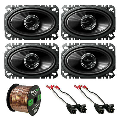 "4 x Pioneer 4x6"" Speakers, 2 x Metra Speaker Wire Harness, Enrock Speaker Wire"
