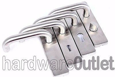 Stainless Steel Door Handles Modern Return To Door on Backplate 175 x 45 BRUSHED