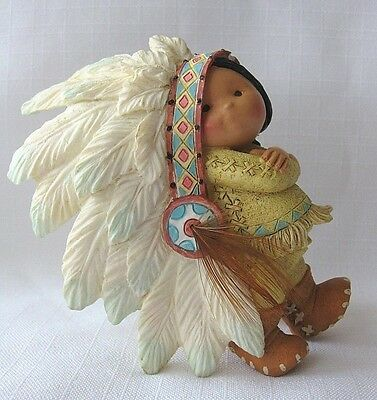 Enesco FRIENDS OF THE FEATHER figurine boy Chief head dress 1994