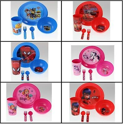 5pc KIDS BOYS GIRLS CHILDRENS PLATE BOWL CUP SPOON FORK LUNCH DINNER MEAL SET