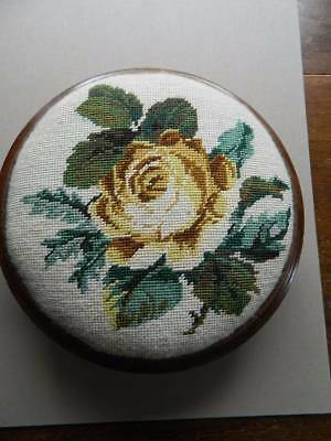 Vintage mahogany wooden low footstool hand worked woolwork tapestry top - Roses