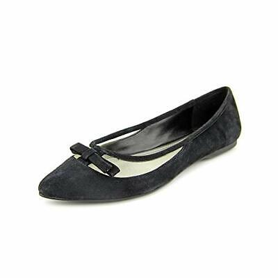 BCBG Zarine Black Flat French Suede Pointed Ballet Flats Shoe FREE SHIPPING