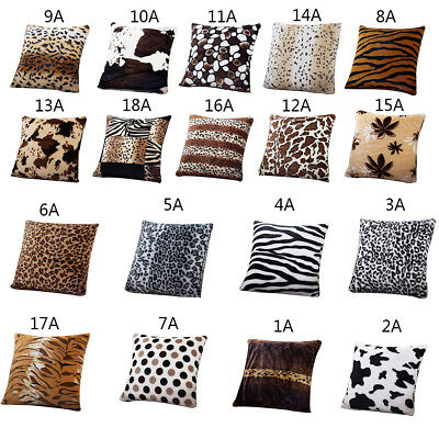 1Pc Animal Skin Pattern Tiger Cat Cow Leopard Soft Throw Pillow Home Decorative