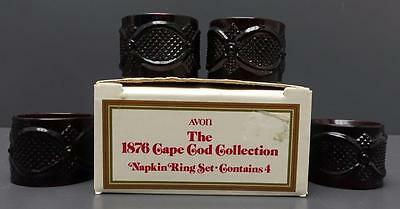 NEW Avon 1876 Cape Cod Ruby Red Glass Napkin Ring Set of 4 in Box