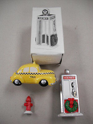 """3 Piece Department 56 """"snow Village"""" Set: Taxi, Phone Booth & Hydrant!"""