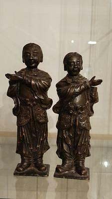 Superb Chinese Qing Dynasty He-He Er Xian Immortals of Harmony Incense Burners
