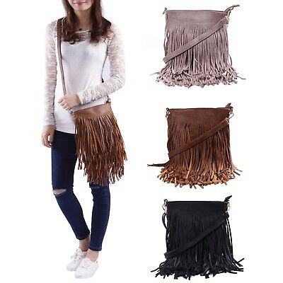 Leather Fringe Shoulder Bag Crossbody Tassel Handbag Women's Purse
