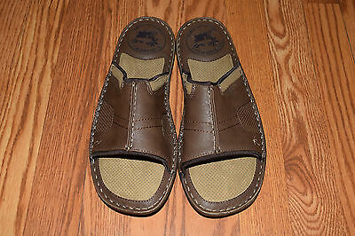 nwt mens margaritaville brown st martin leather slides sandals