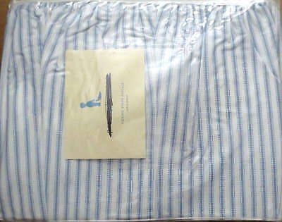 Pottery Barn Kids Ticking Stripe Percale CRIBSKIRT blue white crib bedskirt NEW