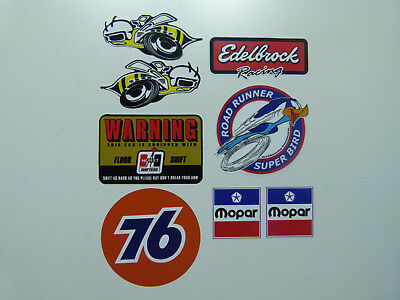 8 teil. Set Sticker oldschool Aufkleber MOPAR Roadrunner Superbee V8 USA Rod 76