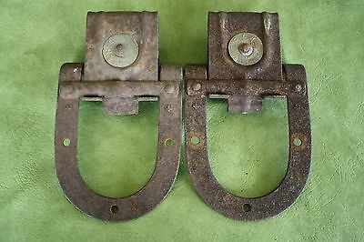 Old Vintage Barn Door Cast Iron Rollers Hardware Big 4 National Mfg Sterling Ill