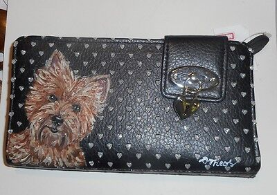 Red Wheaten Cairn Terrier dog Hand Painted  Leather Wallet Vegan