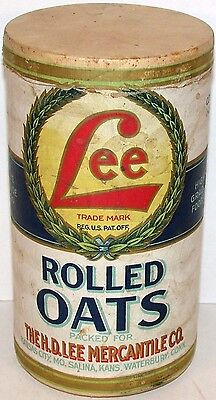 Vintage container LEE ROLLED OATS H D Lee Kansas City Salina with lid early Rare