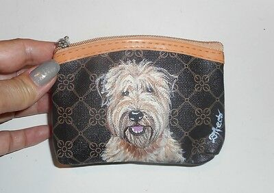 Soft Coated Wheaten Terrie dog Hand Painted Leather Coin Purse Vegan Mini wallet