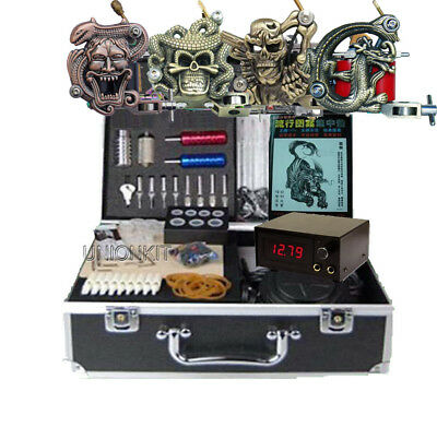 New Complete 4 Tattoo Machine Kit Equipment Power Set Body Tattooing Art Supply