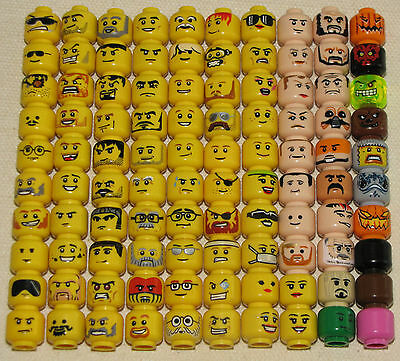 Lego Single Minifig Heads Faces Star Wars Ninjago Town City Castle Space More