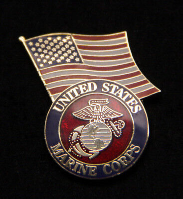Us Marine Corps Seal Logo Us Flag Lapel Hat Pin Up Veteran Usmc Gift Eagle Wow