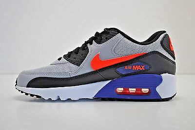 reputable site dcc68 525b2 Nike Air Max 90 Mesh GS Running Shoes Size 5Y - 7Y Grey Black Blue 833418