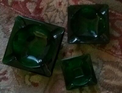 Vintage Ashtray Emerald Green Square Heavy Glass Lot of 3 MidCentury
