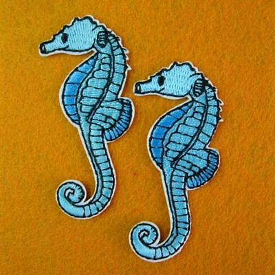 2 Sea Horse Iron on Sew Patch Applique Badge Embroidered Animal Biker Motif Fish