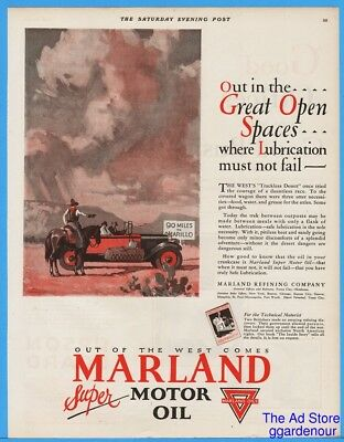 1928 Marland Motor Oil Refining Ad Ponca City OK Cowboy Travelers Amarillo Art