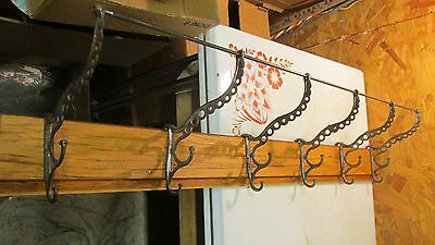 "Antique Oak & Cast Iron Hooks Coat & Hat Rack  38""  No. 2"