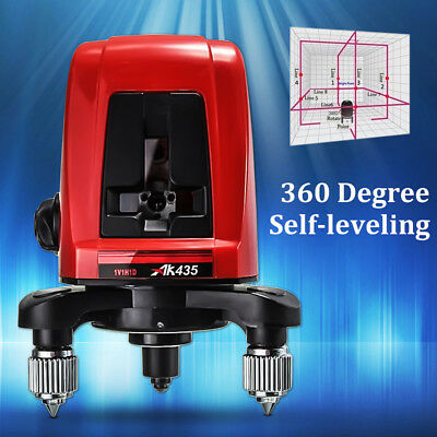 AK435 360 Degree Self-leveling Cross Laser Level 2 Line 1 Point Horizontal + Bag