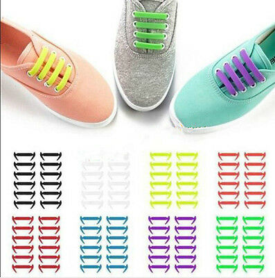 New 12pcs Elastic Silicone Shoelaces No Tie Running Sneakers Strings Shoe Laces