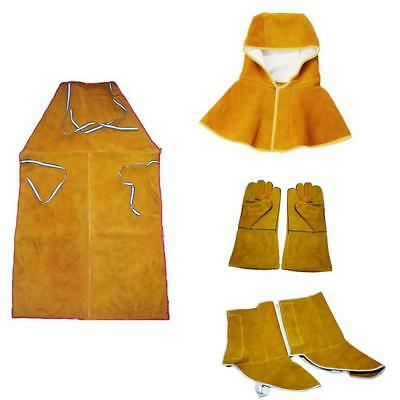 Welder Apron Heat Insulation Cowhide Leather Welding Protection Kit Orange