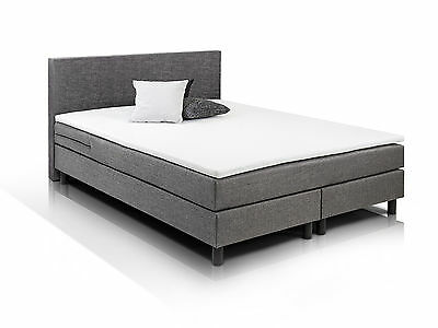 boxspringbett 160 x 200 cm grau woody 118 00009 eur 579 00 picclick de. Black Bedroom Furniture Sets. Home Design Ideas